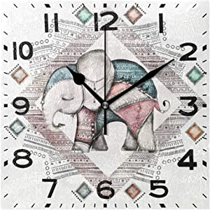 Naanle Indian Elephant Tribal Unique Design Retro Square Wall Clock Decorative, 8 Inch Battery Operated Quartz Analog Quiet Desk Clock for Home,Office,School