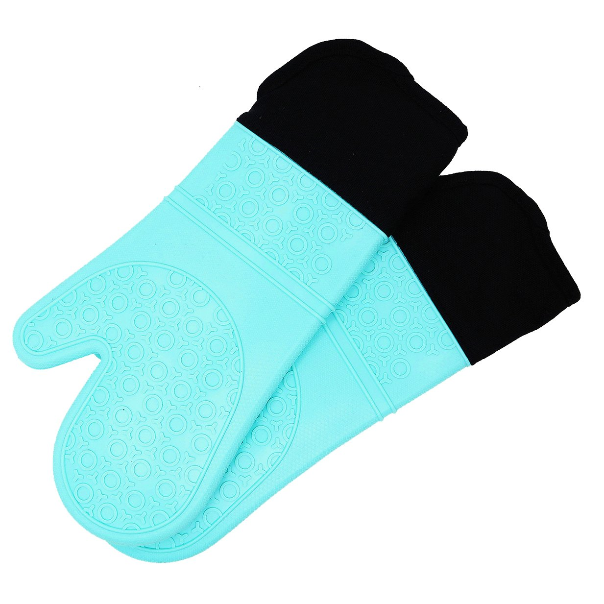 Silicone Oven Mitts with Quilted Cotton Lining