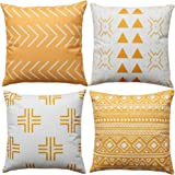 WLNUI Set of 4 Mustard Yellow Boho Modern Pillow Covers 18x18 Inch Square Farmhouse Throw Pillow Covers Geometric…