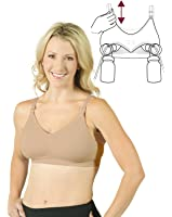 Seamless Pump&Nurse Nursing Bra with built in hands-free pumping bra and removable soft pad inserts - Nude, M