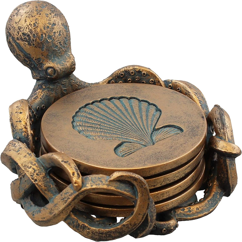 Octopus Coaster Set - Nautical Ocean Beach Sea Shell Coastal Decor - Bronze / Verdigris Finish