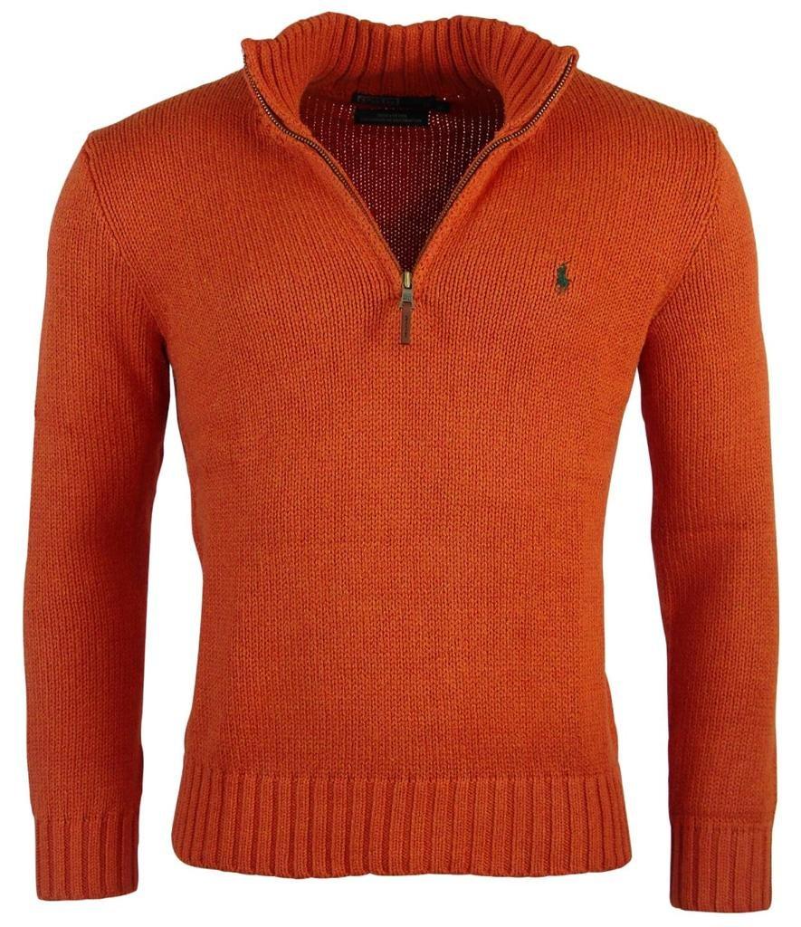 Polo Ralph Lauren Mens Half Zip Mock Neck Cotton Sweater - S - Orange