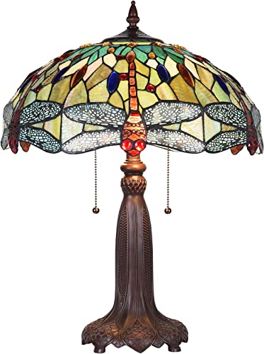 Maxxmore Tiffany Table Lamp 2-Light Tiffany Desk Lamp Green Dragonfly Stained Glass Lamps Tiffany Dragfonly Table Lamp 18 inch Wide Tiffany Styled Table Lamp
