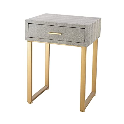 Superieur Artistic Beaufort Point Shagreen Accent Side Table, Gold/Grey
