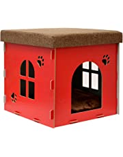 eyepower Caseta para Perro Gato cama caja cuadrada para mascota con tapa acolchada para sentarse puf