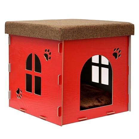 eyepower Caseta pequeña para Perro Gato 38x38x38cm cama caja cuadrada S para mascota con tapa acolchada