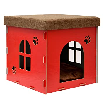 eyepower Caseta para Perro Gato 41x41x41cm talla mediana M cama caja cuadrada para mascota con tapa acolchada para sentarse puf escabel Rojo: Amazon.es: ...