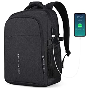 Markryden Laptop Backpack Business Bags with USB Charging Port Water-Proof School Travel Work Bag Fits 15.6 Inch Laptop