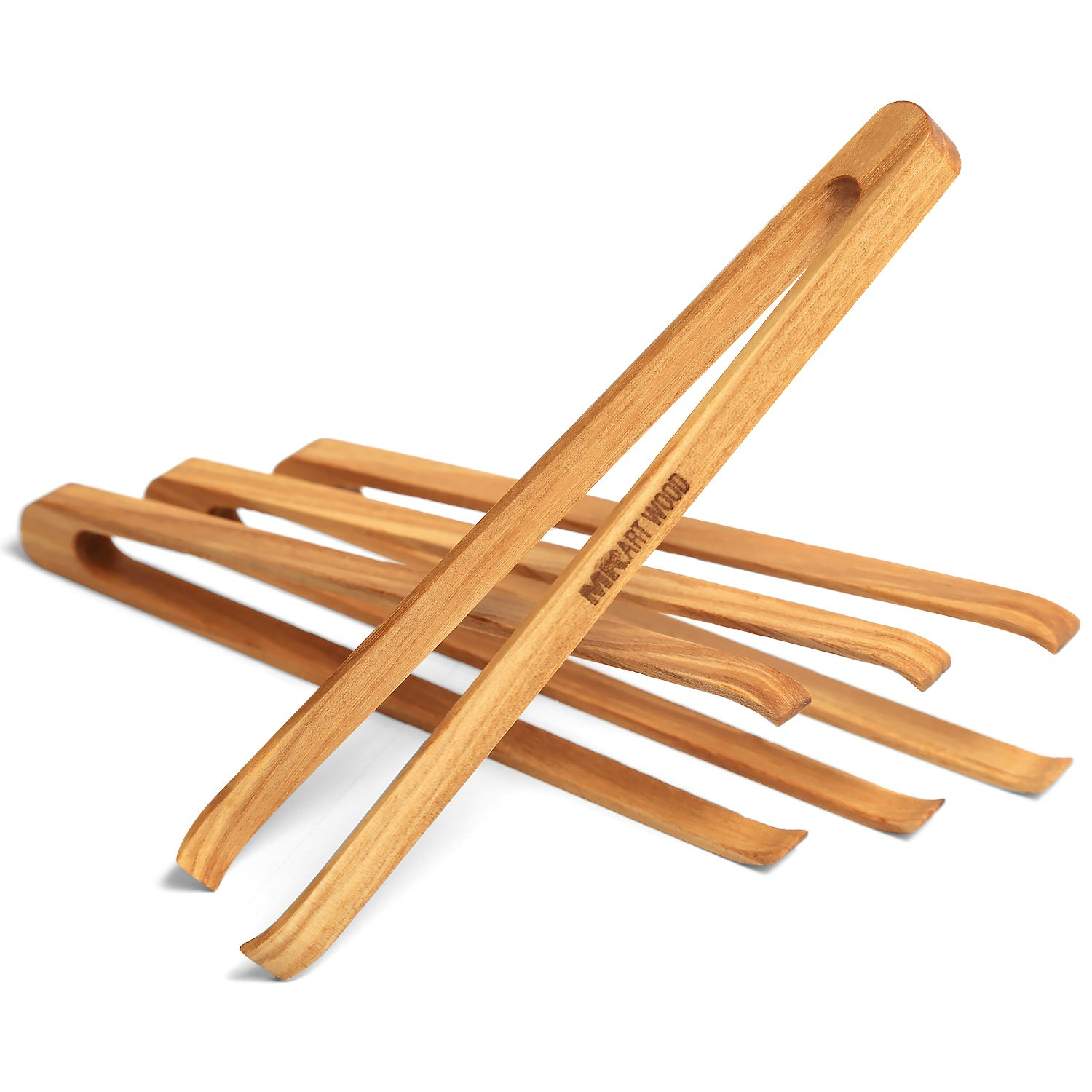 Mr.Art Wood Mini Wooden Appetizer Tongs (Pack of 4), 6'' Generous Length, Lightweight, Easy Grip, 100% Natural One-Piece Ash Wood by Mr.Art Wood (Image #1)