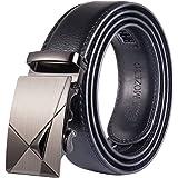 MOZETO Men's Belt, Genuine Leather Ratchet Dress Belt for Men with Automatic Sliding Buckle, Anti-peeling Leather Gift Box