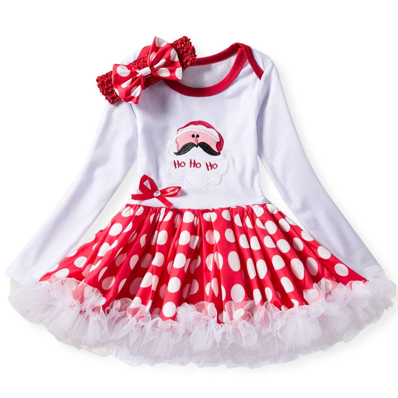NNJXD Neonate Costume di Carnevale di Natale Neonato Bambini Festa di Compleanno Dress Up Polka Dots Ragazze Toddler Gonna Tuta + Copricapo