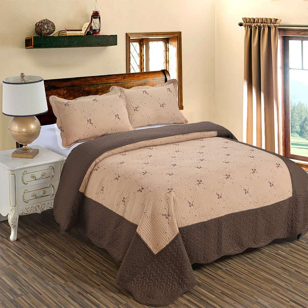 JessyHome 3-Piece Quilt Coverlet Bedding Set Full/Queen(90''x90'') Size Bedspread Floral Pattern Exquisite Embroidery Lightweight Hypoallergenic by, Brown