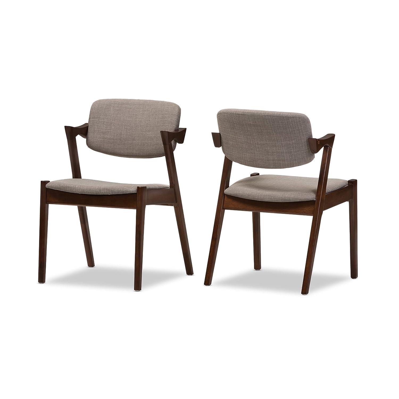 Amazon com baxton studio gonza mid century dark walnut wood grey fabric upholstered dining armchair set of 2 light grey walnut brown chairs