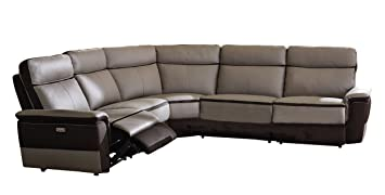 Homelegance Laertes Two Tone Power Reclining Sectional Sofa Top Grain  Leather Fabric Match, Light