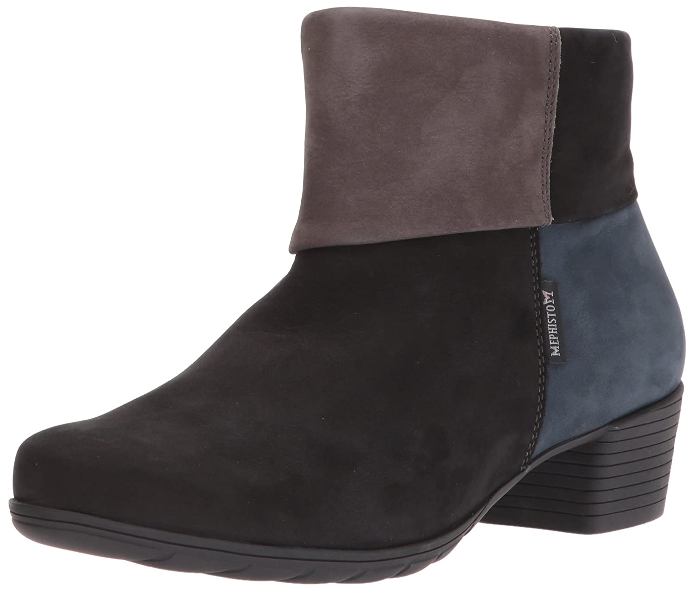 Mephisto Women's Iris Ankle Bootie B06XKJ4CB2 5 B(M) US|Black/Grey/Navy Bucksoft
