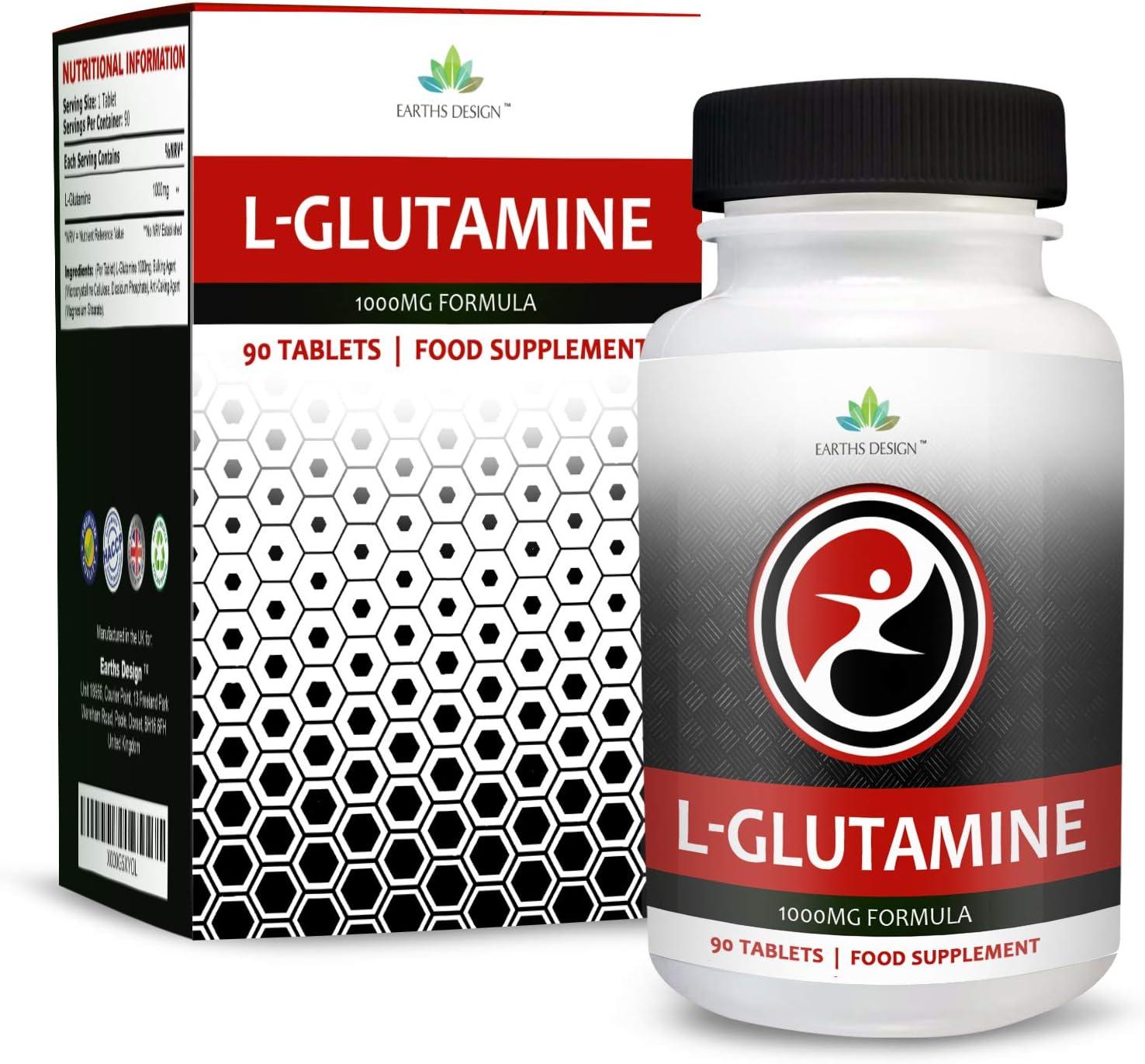 L-Glutamina - 1000mg Glutamina - Aminoácido L Glutamina - Glutamine - 90 Pastillas (Suministro Para 3 Meses) de Earths Design