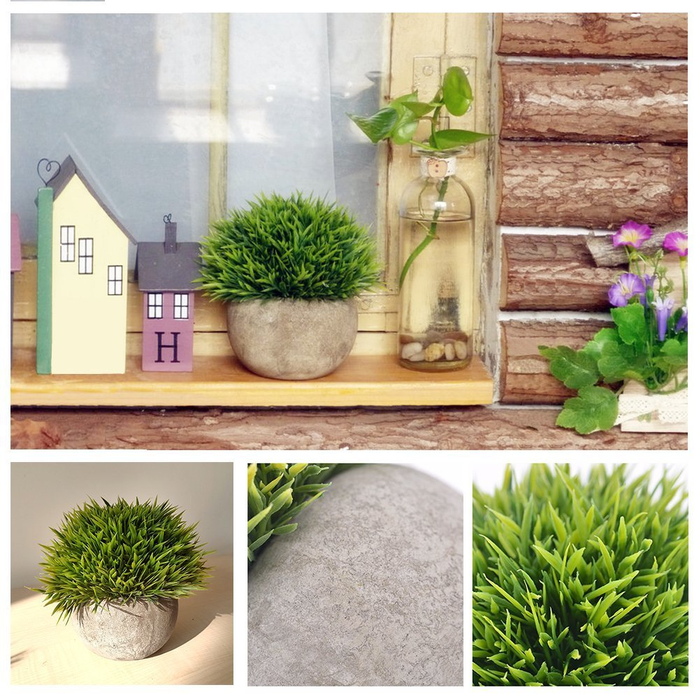 Kbnian Potted Plants Mini Artificial Plastic Fake Plants with Gray Pot 4.7x3.9Inch Green Faux Lifelike Grass for House Bathroom Decoration