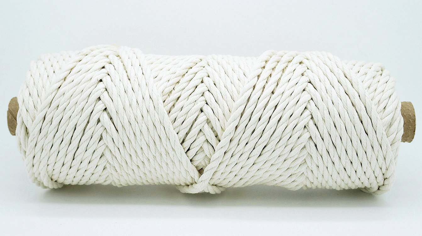 4mm Natural White 3 Strand Cotton Twisted Cord Rope Craft Macrame Artisan String (180 Feet Tube)