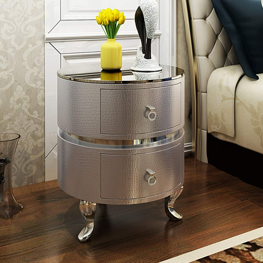 Beistelltisch Nachttisch-gehärtetes Glas Europäischen Stil Massivholz Nachttisch Kabinett Schlafzimmer Mode Möbel Runde Nachttisch Einfach Min (Color : C)