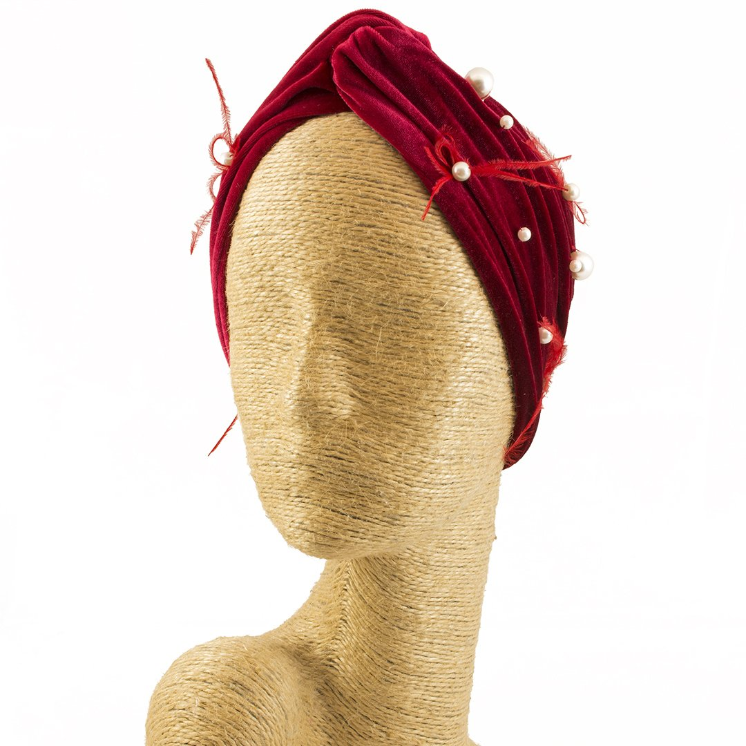 Fascinator, Velvet Headbands, Millinery, Worldwide Free Shipment, Delivery in 2 Days, Customized Tailoring, Designer Fashion, Pearl, Head wrap, Boho Accessories, Red, Beaded Headbands, Jewelled