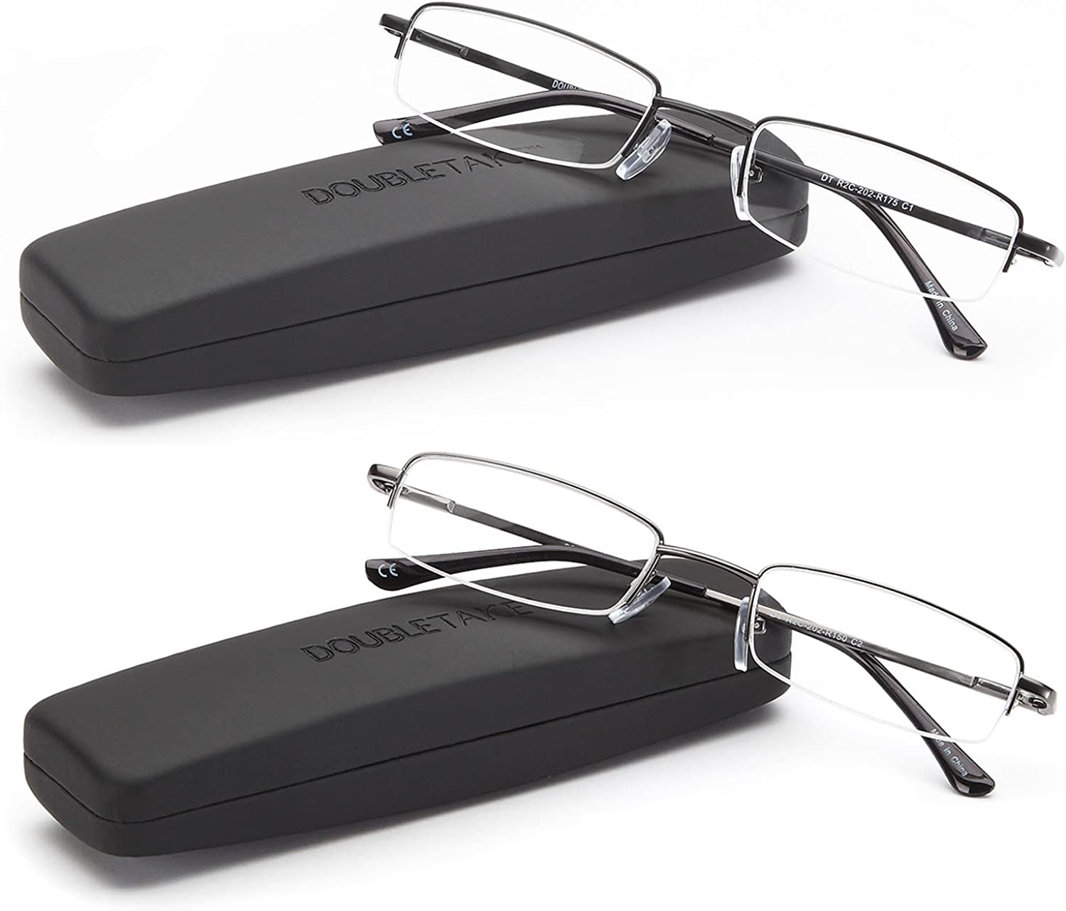 B01EXCLLQC DOUBLETAKE Reading Glasses - 2 Pairs Compact Case Included Semi Rimless Readers 718iB9jno6L