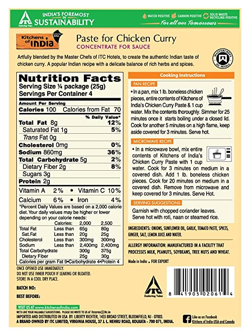 Kitchens Of India Paste, Chicken Curry, 3 5-Ounces (Pack of 6)
