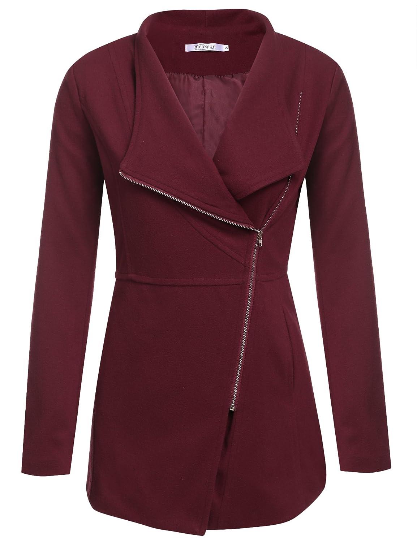 Meaneor Women's Oblique Asymmetrical Zipper Front Fleece Coat Outerwear
