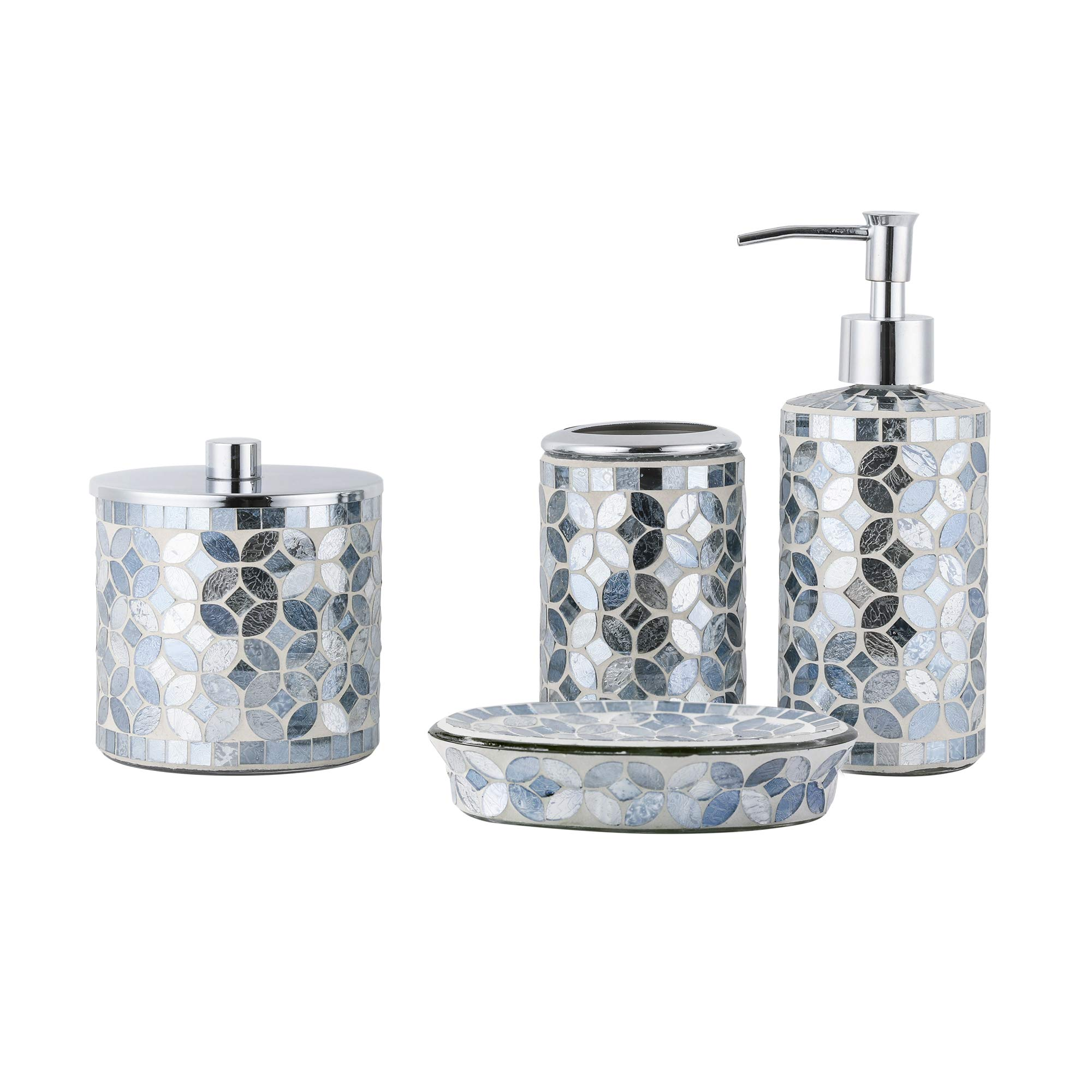 Whole Housewares Bathroom Accessories Set, 4-Piece Glass Mosaic Bath Accessory Completes with Lotion Dispenser/Soap Pump, Cotton Jar, Soap Dish, Toothbrush Holder (Blue Ink)