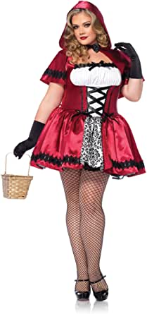 Gothic Red Riding Hood Plus Size Costume - 5X, Red/White, Size 3.0