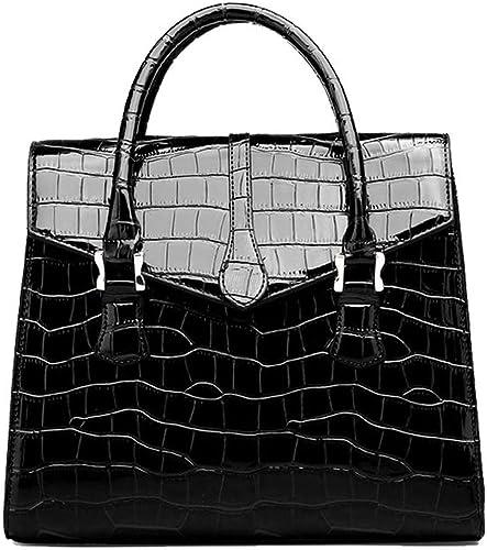 New Women/'s Ladies Stylish Box Patent Mock Croc Skin Pattern Top Handle Hand Bag