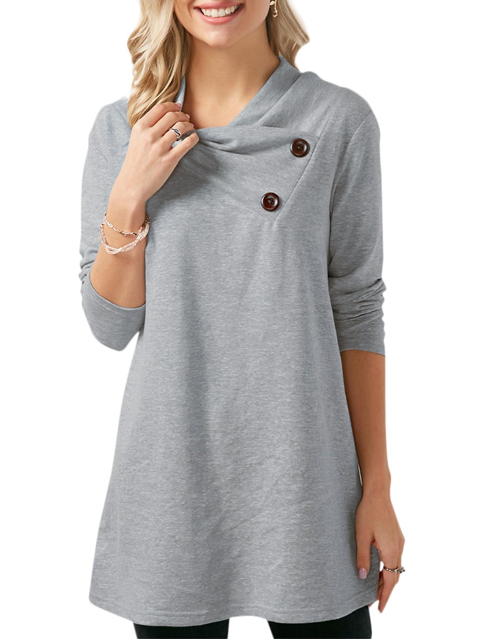 Chenghe Women's Cowl Neck Tunic Tops Long Sleeve Sweatshirts with Buttons (Grey X-Large)