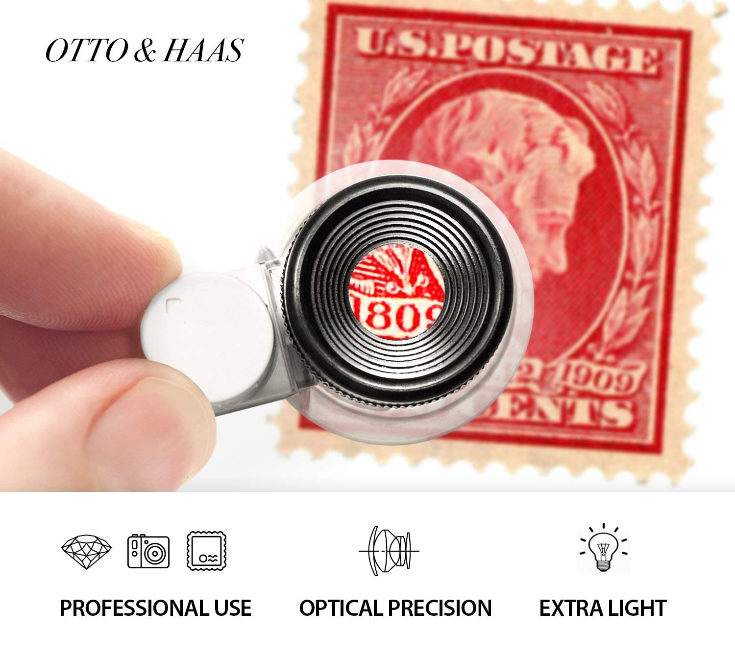 Eye-Piece for Close Work 6 LED Illuminated 20X Magnification Loop Scope Lupe with Light for Coin Collection Supplies Collectors Gift Stamp Collecting SOUOP Lighted Jewelers Loupe Magnifier