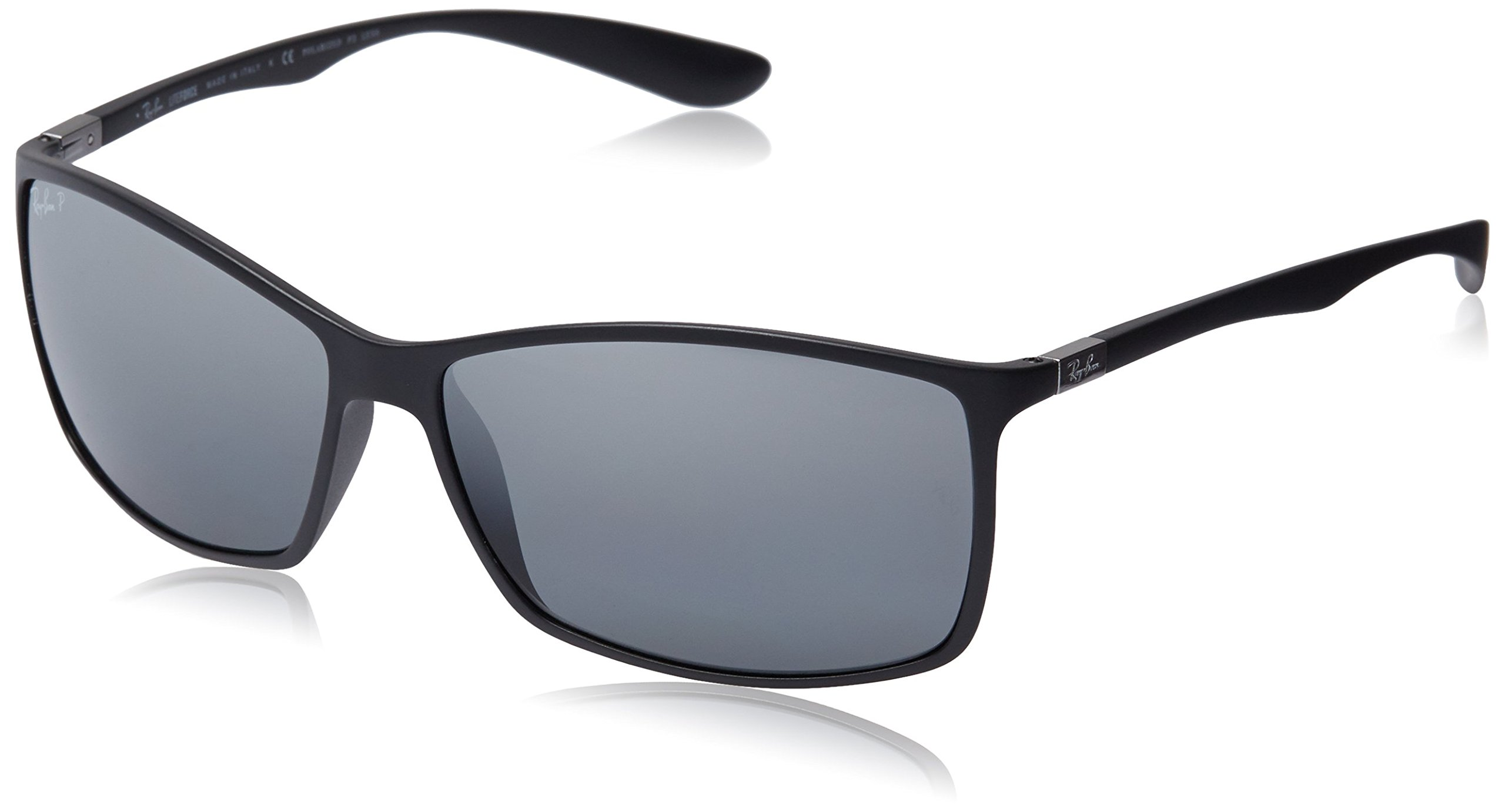 Ray-Ban RB4179 601S82 Polarized Rectangular Sunglasses, Matte Black/Polar Grey Mirror Silver Gradient, 62 mm by Ray-Ban (Image #1)