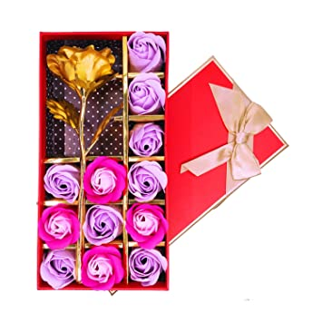 12 Pcs Rose Scented Bath Soap Flowers With One Golden Flower Gift Set For