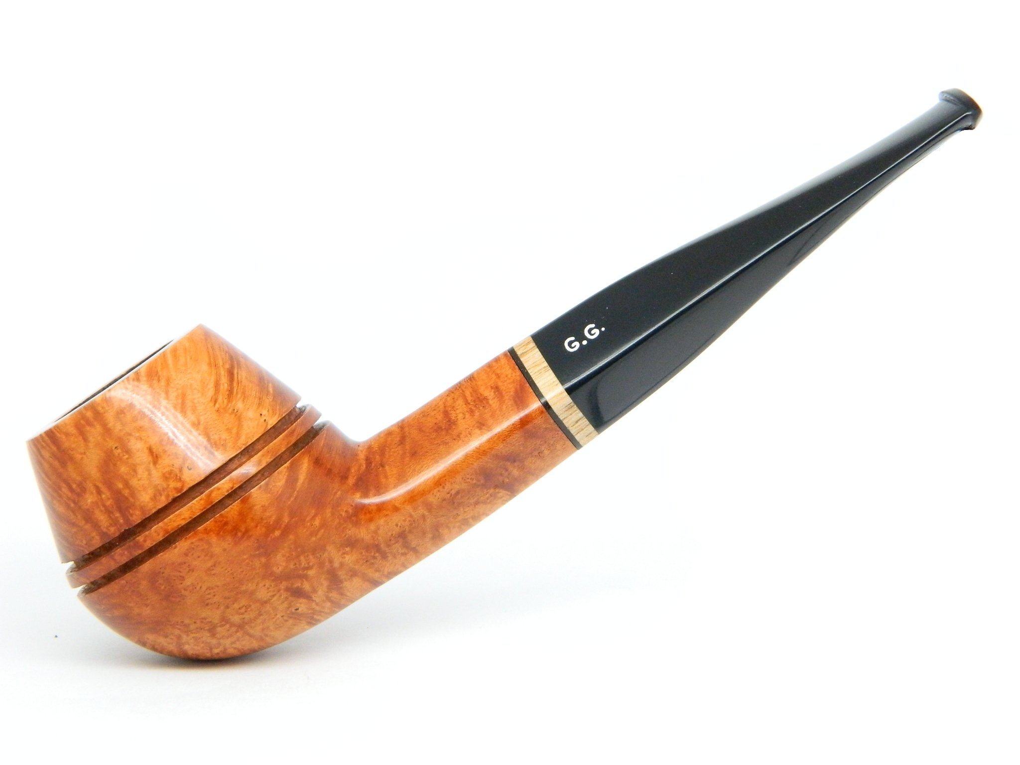 Watson&G.G. - BRIAR Tobacco Smoking pipe - Bulldog - Hand Made, Smooth ( 9mm filter) + Branded Pouch (special edition for Watson) (Gold)