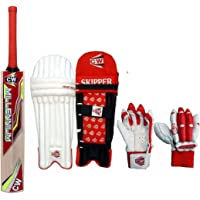 CW Trainer Mini Cricket Set Outdoor Play Kashmir Willow Bat Legguard Glove Red Right Hand