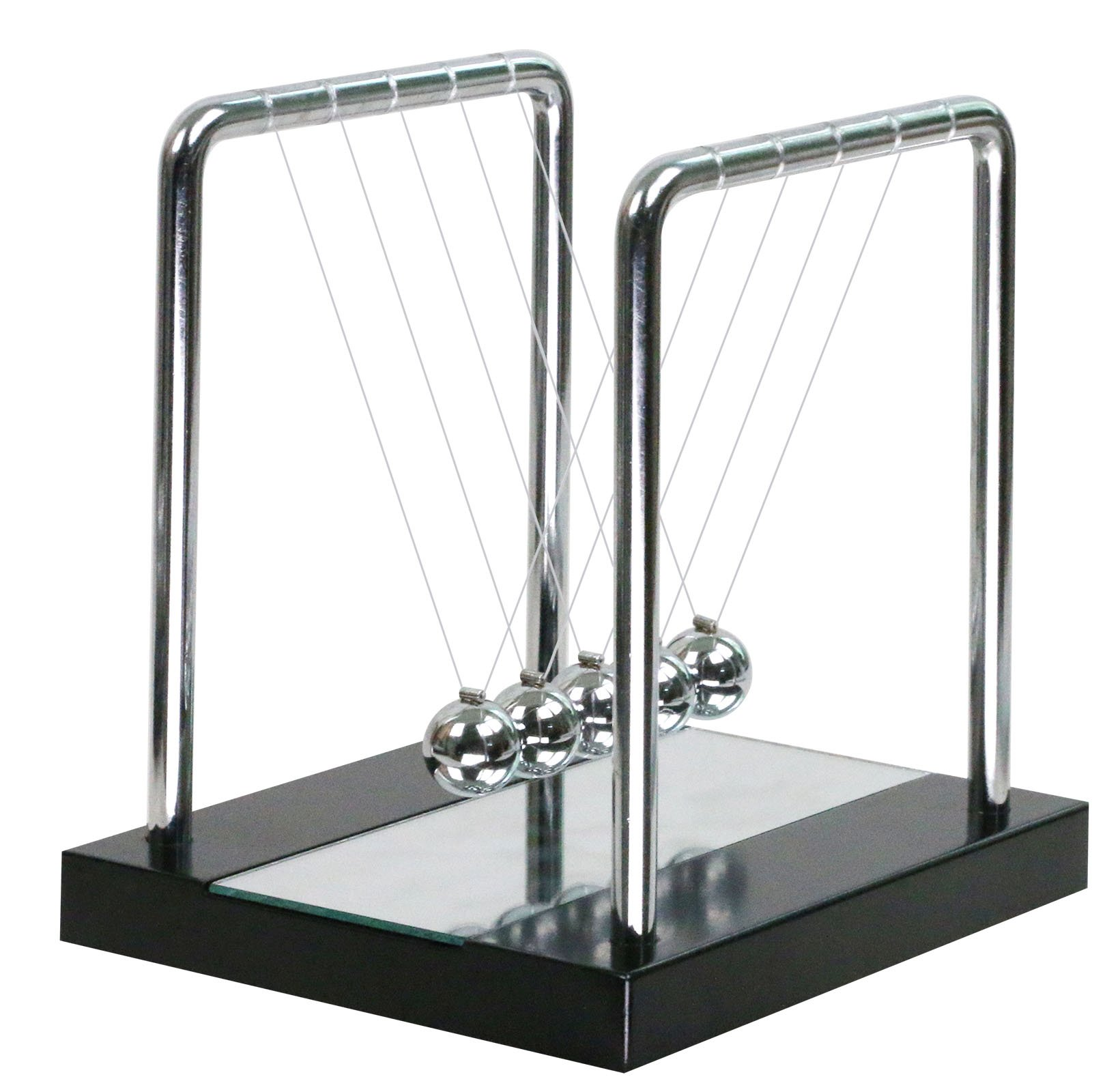 BOJIN Mirror Newton's Cradle Balance Ball Science Kinetic Energy Sculpture - Medium Mirror by BOJIN (Image #1)