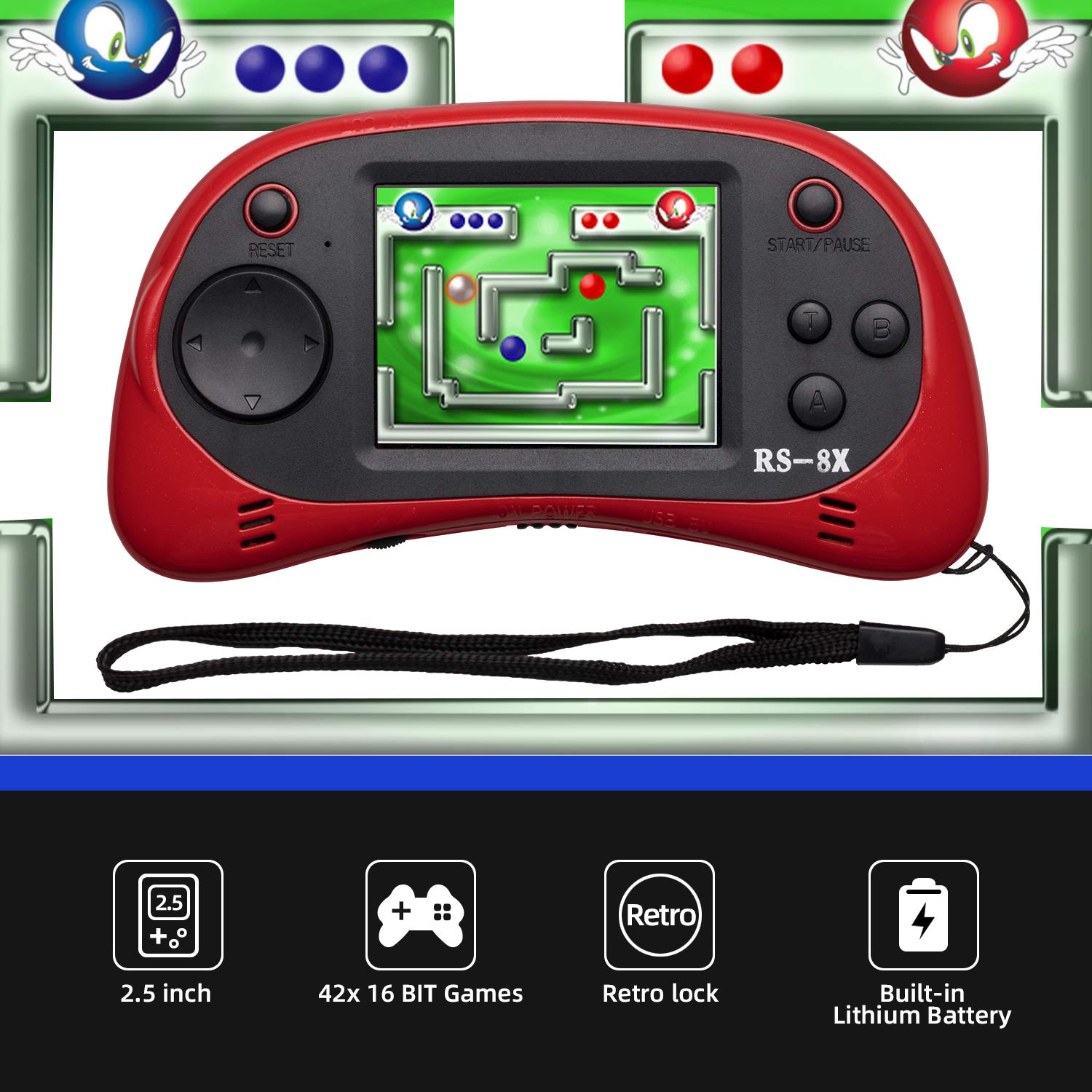 LIVKIDS Kids Portable Game Player RS-8X 16 Bit HD Handheld Game Console Built-in 42 Classic Games 2.5 Inch Retro Video Games Console Blue