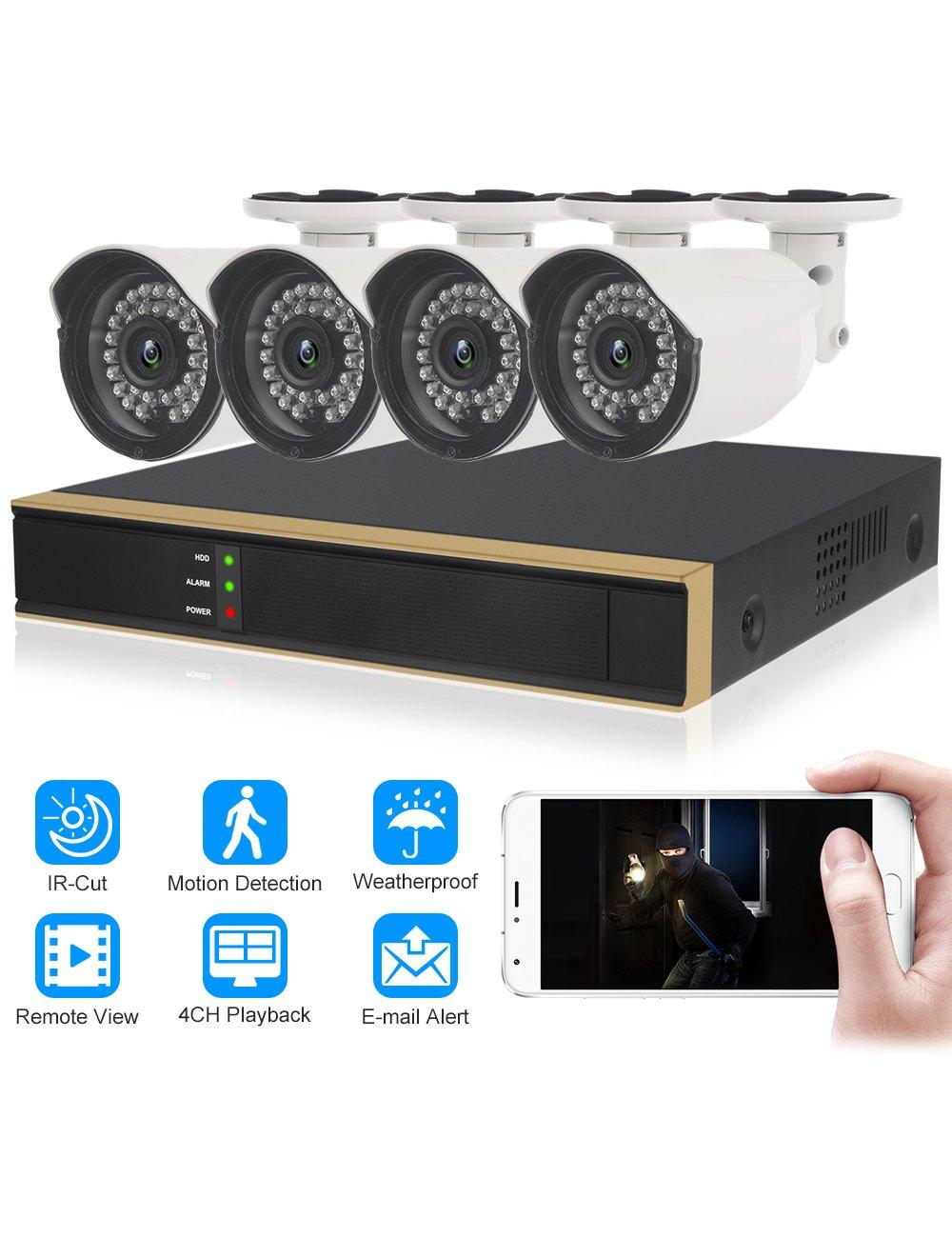 DIDseth HD 4 canales 720P sistema de vigilancia al aire libre, 4 cámaras de seguridad HD a prueba de intemperie, visión nocturna, detección de movimiento, ...