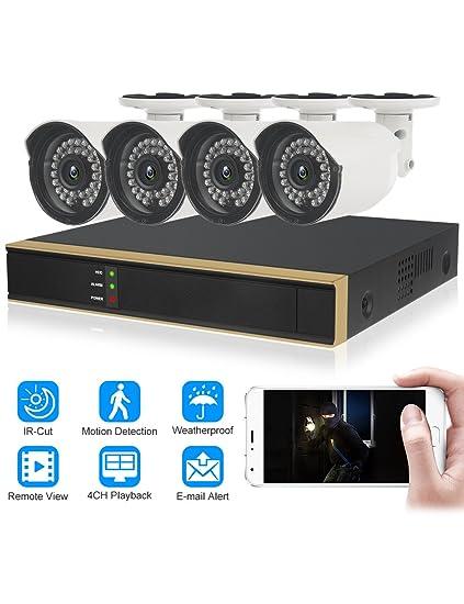 DIDseth HD 4 canales 720P sistema de vigilancia al aire libre, 4 cámaras de seguridad