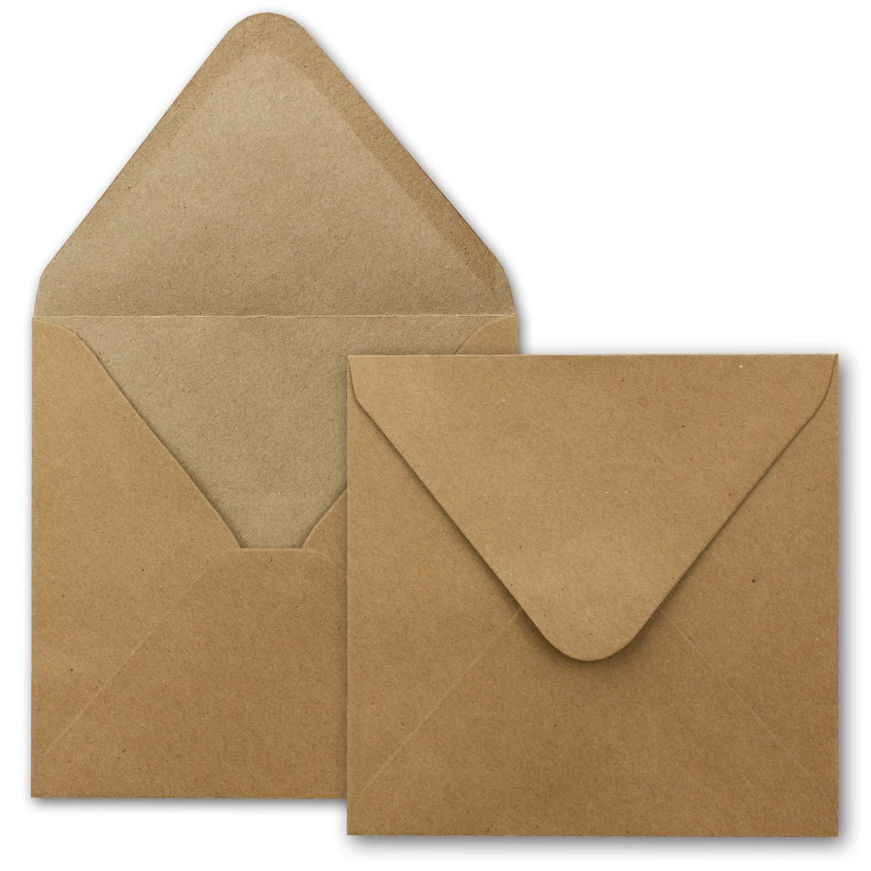 f/ür Einladungen 100x Kraftpapier-Karten Set quadratisch 13,5 x 13,5 cm mit Brief-Umschl/ägen /& Einlege-Bl/ätter Recycling Vintage Karten-Set