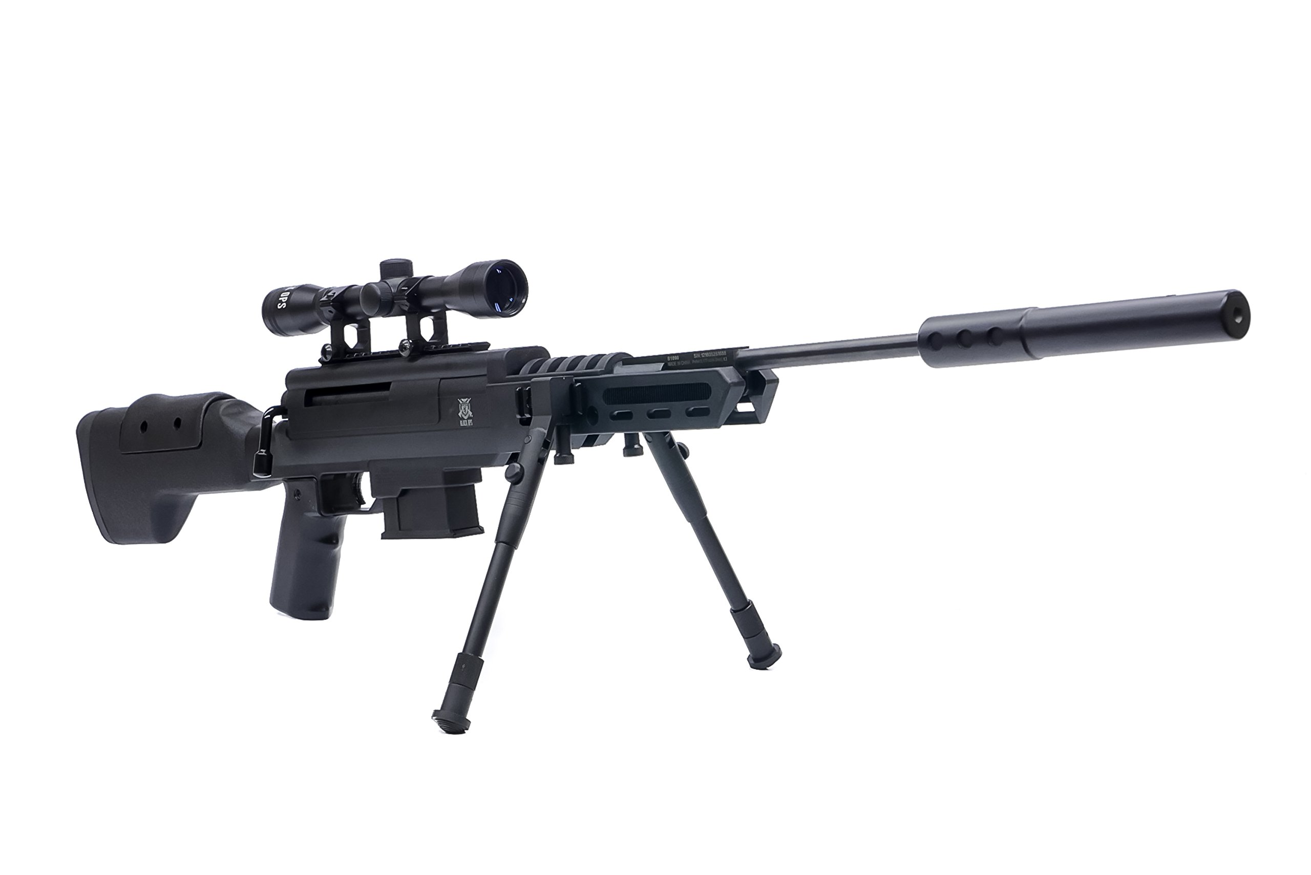 Black Ops Sniper Rifle S - Hunting Pellet Air Rifle Airgun with Suppressor - Included Scope and Bipod - Shoot .177 Caliber Pellets Ammo