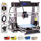 Impresoras 3D, Abcs Printing A8 Impresora 3D Pantalla LCD Impresora DIY Alta precisión autoensamblaje admite ABS/PLA Marco de madera de aviación,Tamaño de impresión 220 x 220 x 240 mm