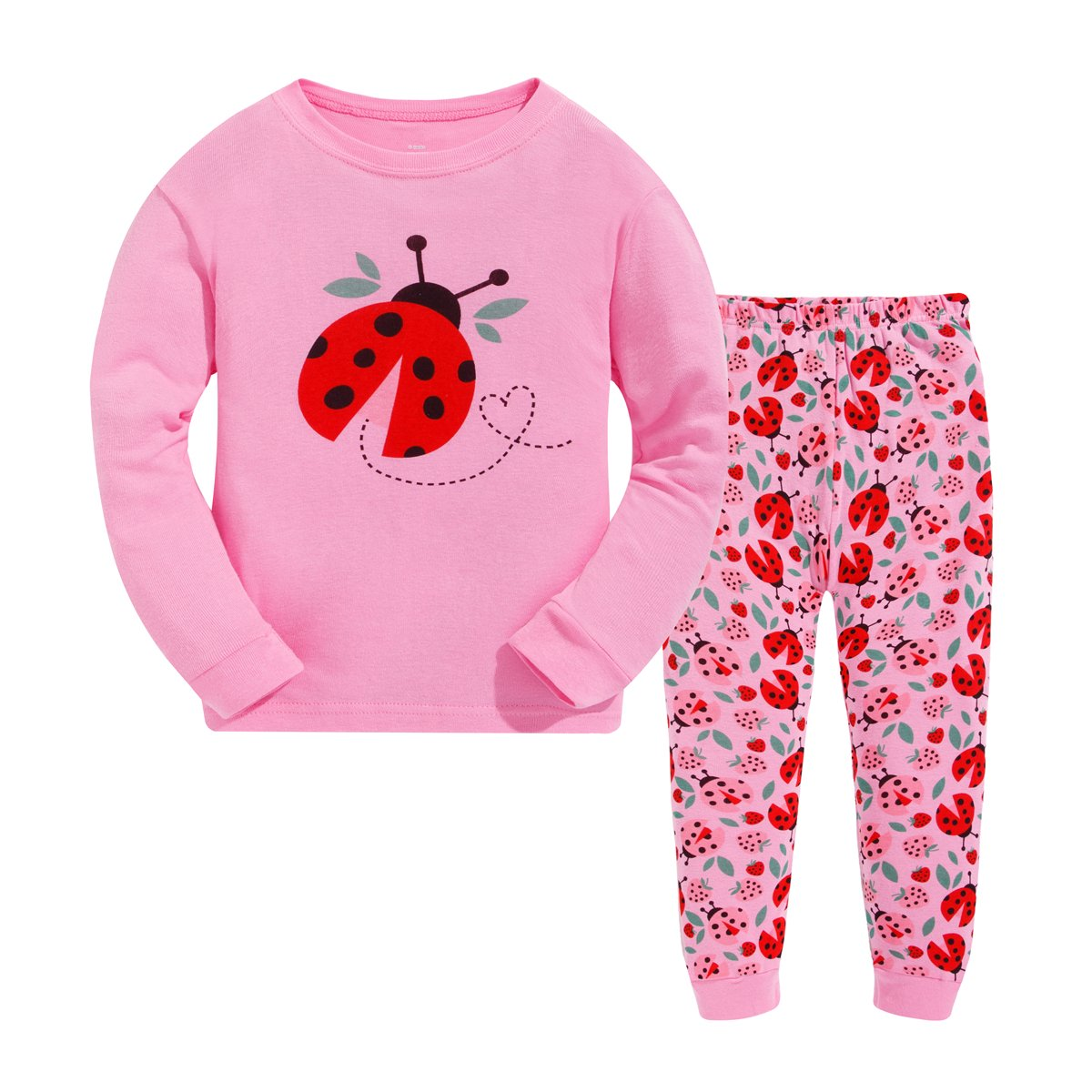 Cczmfeas Girls Pajamas Sets Kids Pjs Cotton Ladybug Long Sleeve Sleepwears 2-7 Years