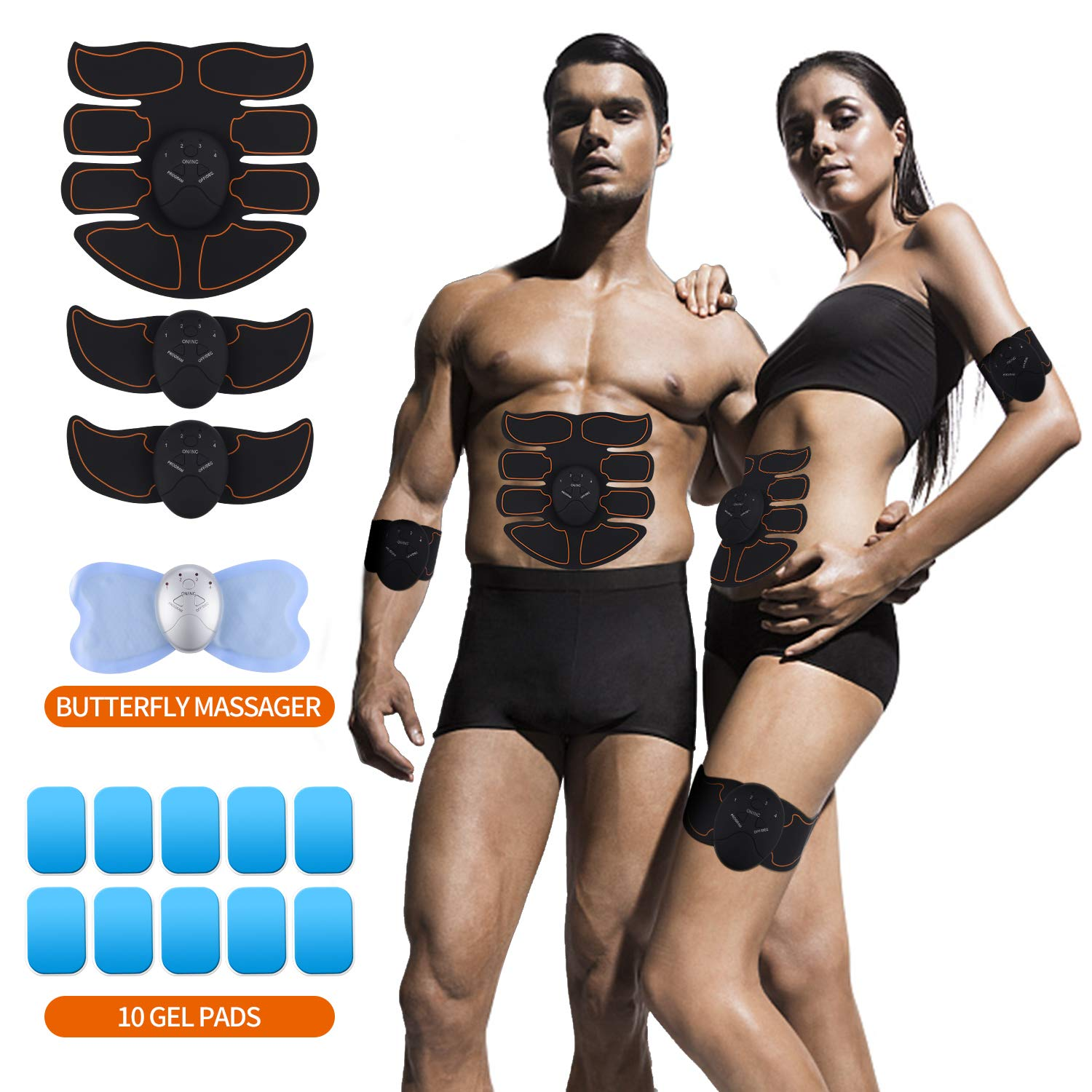 UYGHHK Abs Stimulator Muscle Trainer Ultimate Abs Stimulator Muscle Toner Toning Belt EMS ABS Toner Fitness Equipment for Abdomen/Arm/Leg + Butterfly Massager,10 Extra Gel Pads
