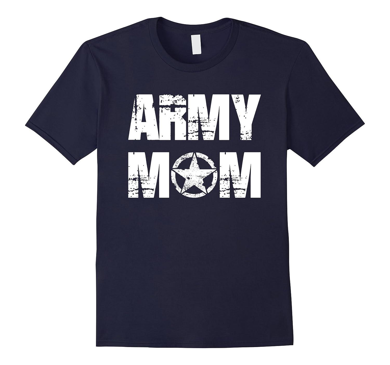 Army Mom Distressed Star US Army T-shirt-CD
