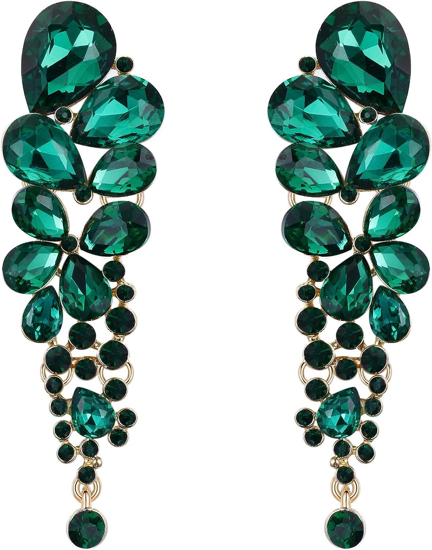 EVER FAITH Mujer Cristal Elegante Gota de Agua Cierre de Clip Pendientes Verde Tono Dorado