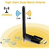 WISETIGER Adattatore USB WIFI Dongle AC600mbps Alto Guadagno Antenna WIFI 5G Dual Bande 433mbps(5GHz) Wireless Adapter 150mbps (2.4GHz) Alto Guadagno Antenna Spporta Con USB2.0 Compatibile Con Window 10/8.1/8/7/XP/Vista MAC 10.6.X/10.7.X/10.8.X/10.9.X/10.10.X/10.11.X/10.12.X