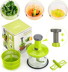 X-Chef Manual Food Chopper, 3 in 1 Chopping Food Processor Vegetable Hand Chopper for Chopping Blending Salad Spinning Drying, Upgraded One-Hand Press Operation, 5 Cup/1.2L