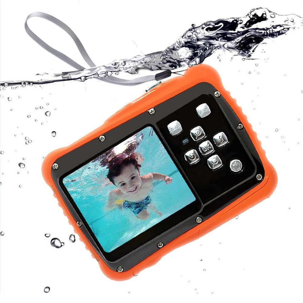Kids Waterproof Camera 12MP HD with 2 Inch LCD 4X Optical Zoom and Mic 9.9 ft Waterproof Camera Kids Birthday Learn Camera Give Floating Wrist Strap(Yellow)(Black)
